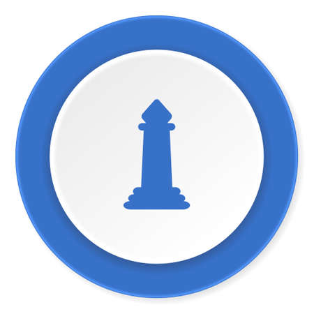 king master: chess blue circle 3d modern design flat icon on white background