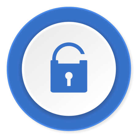 trusty: padlock blue circle 3d modern design flat icon on white background Stock Photo