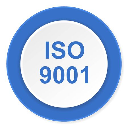 din: iso 9001 blue circle 3d modern design flat icon on white background