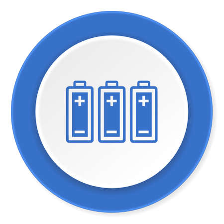 accuse: battery blue circle 3d modern design flat icon on white background