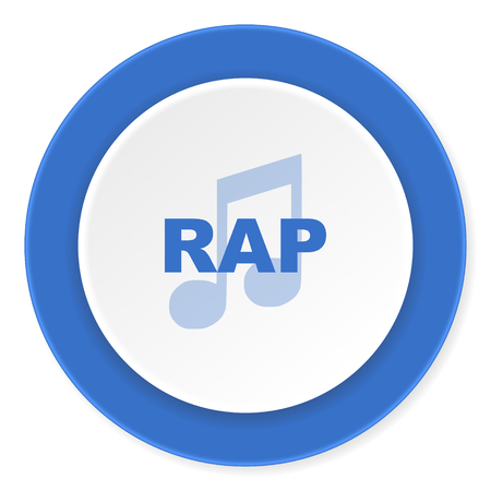 rap music: rap music blue circle 3d modern design flat icon on white background