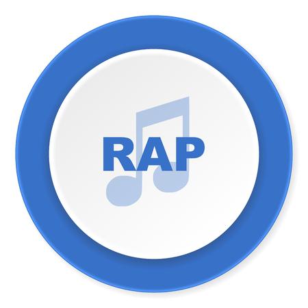 live stream sign: rap music blue circle 3d modern design flat icon on white background
