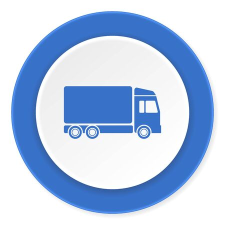 delivery blue circle 3d modern design flat icon on white background Фото со стока