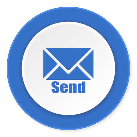 blue send: send blue circle 3d modern design flat icon on white background