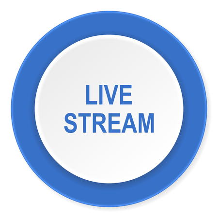 live stream: live stream blue circle 3d modern design flat icon on white background