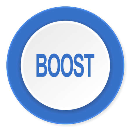 boost: boost blue circle 3d modern design flat icon on white background