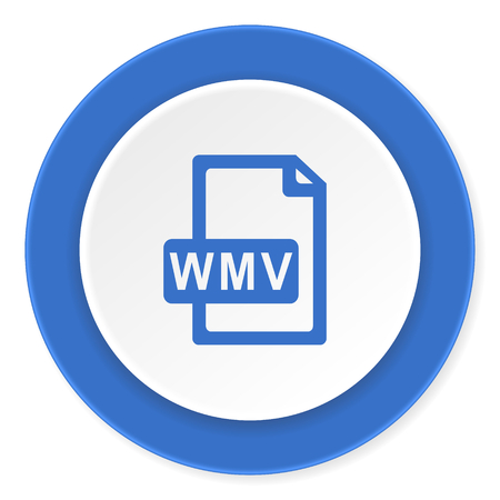 wmv: wmv file blue circle 3d modern design flat icon on white background Stock Photo