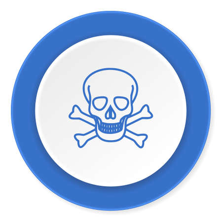 pirating: skull blue circle 3d modern design flat icon on white background Stock Photo