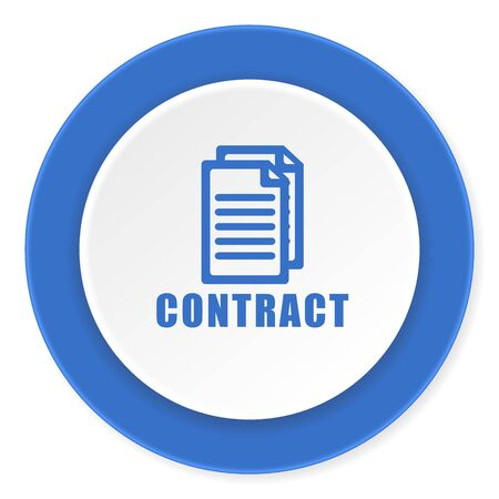 contract: contract blue circle 3d modern design flat icon on white background Stock Photo
