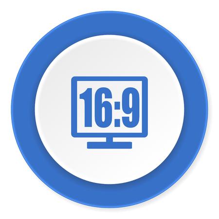16 9 display: 16 9 display blue circle 3d modern design flat icon on white background