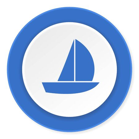 3d sail boat: yacht blue circle 3d modern design flat icon on white background