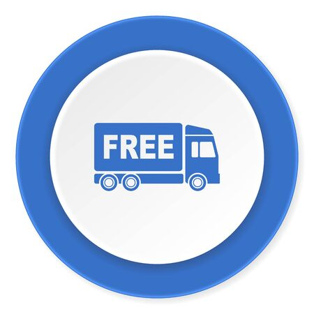 ship order: free delivery blue circle 3d modern design flat icon on white background Stock Photo