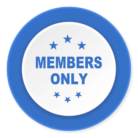 members only: members only blue circle 3d modern design flat icon on white background