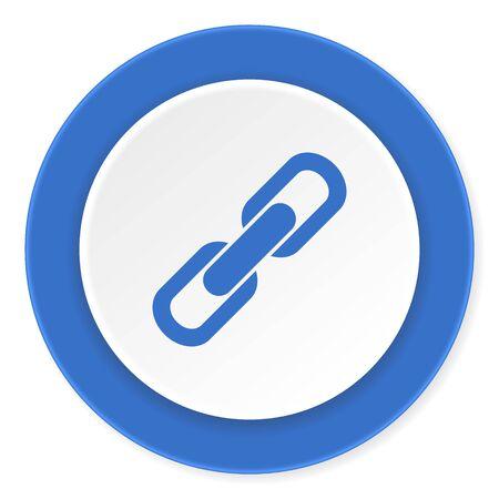 la union hace la fuerza: enlace azul c�rculo 3d dise�o moderno icono de plano sobre fondo blanco Foto de archivo