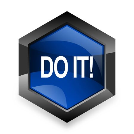 just do it: do it blue hexagon 3d modern design icon on white background