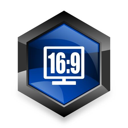 16 9 display: 16 9 display blue hexagon 3d modern design icon on white background