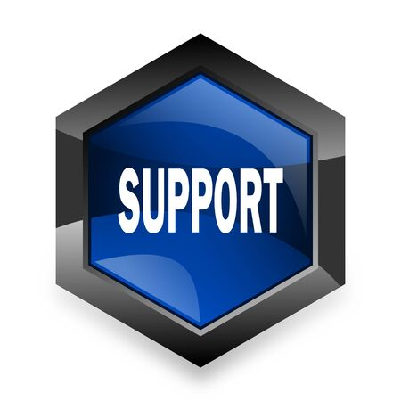 advisor: support blue hexagon 3d modern design icon on white background