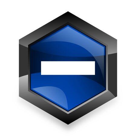 subtract: minus blue hexagon 3d modern design icon on white background