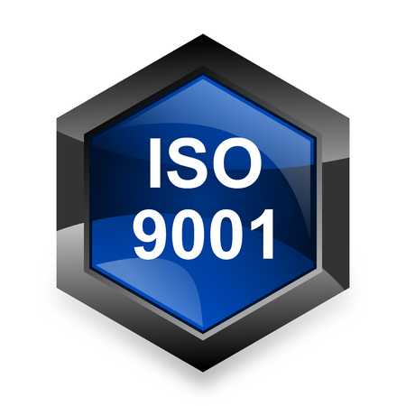 din: iso 9001 blue hexagon 3d modern design icon on white background Stock Photo