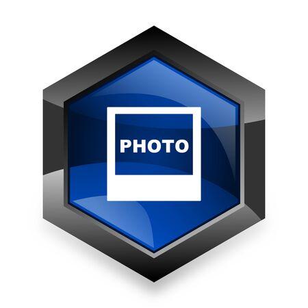 photo icon: photo blue hexagon 3d modern design icon on white background