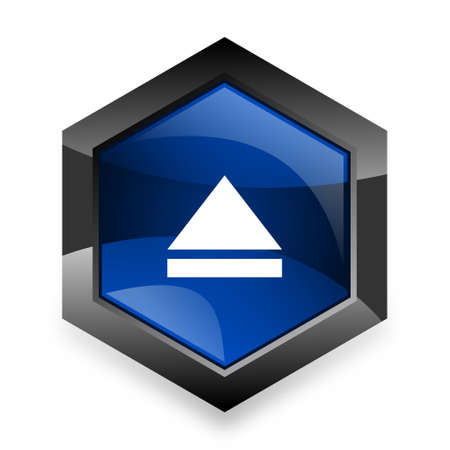 eject: eject blue hexagon 3d modern design icon on white background