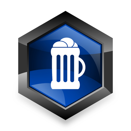 cereal bar: beer blue hexagon 3d modern design icon on white background