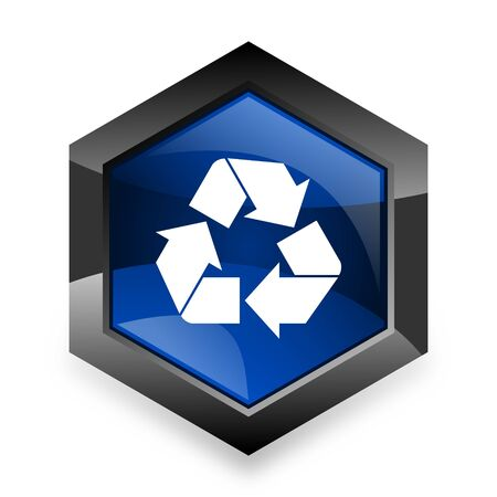 waste 3d: recycle blue hexagon 3d modern design icon on white background Stock Photo