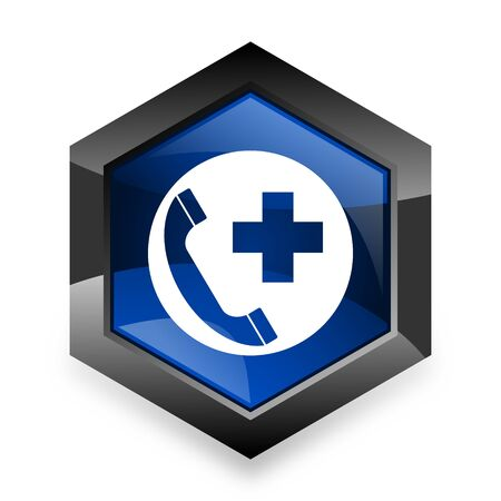 emergency call: emergency call blue hexagon 3d modern design icon on white background