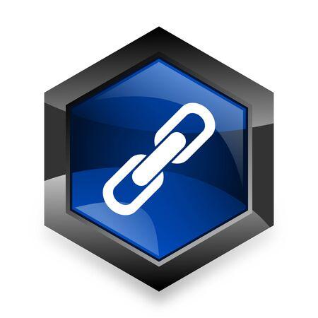 cohesion: link blue hexagon 3d modern design icon on white background Stock Photo