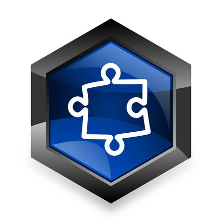 plugin: puzzle blue hexagon 3d modern design icon on white background