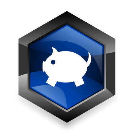 us coin: piggy bank blue hexagon 3d modern design icon on white background