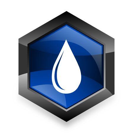 waterdrop: water drop blue hexagon 3d modern design icon on white background Stock Photo