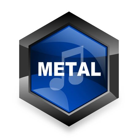 metal music: metal music blue hexagon 3d modern design icon on white background Stock Photo