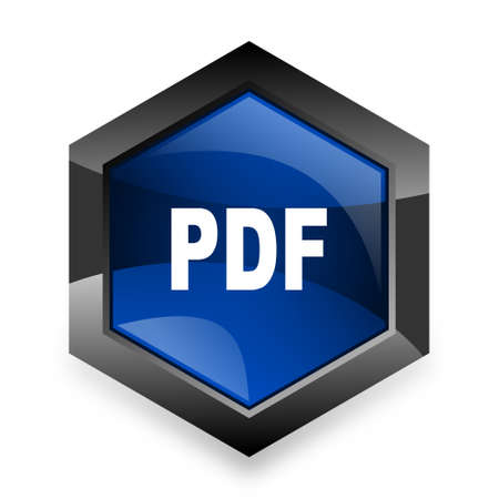 bibliography: pdf blue hexagon 3d modern design icon on white background Stock Photo