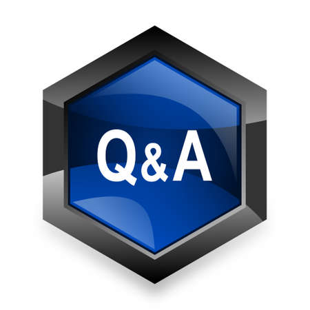 question and answer: question answer blue hexagon 3d modern design icon on white background