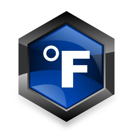 fahrenheit: fahrenheit blue hexagon 3d modern design icon on white background