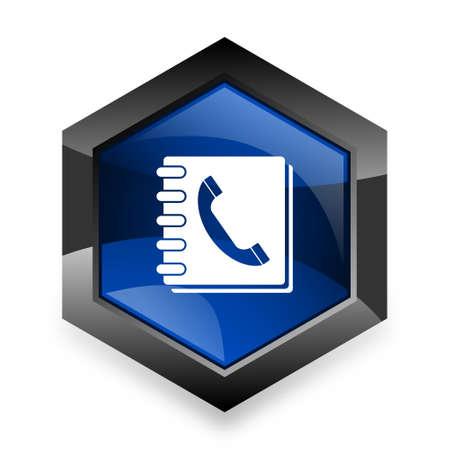 phonebook: phonebook blue hexagon 3d modern design icon on white background Stock Photo