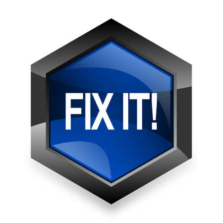 it professional: fix it blue hexagon 3d modern design icon on white background