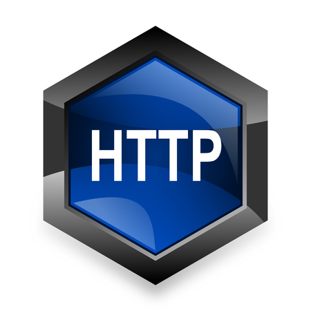 http: http blue hexagon 3d modern design icon on white background