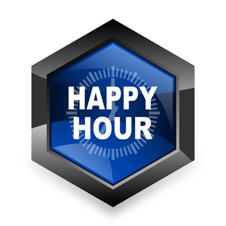 happy hour drink: happy hour blue hexagon 3d modern design icon on white background