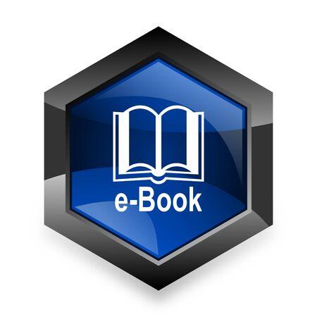 reading app: book blue hexagon 3d modern design icon on white background Stock Photo