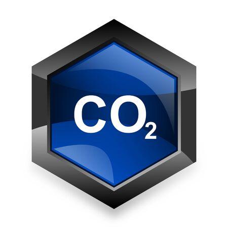 carbon emission: carbon dioxide blue hexagon 3d modern design icon on white background