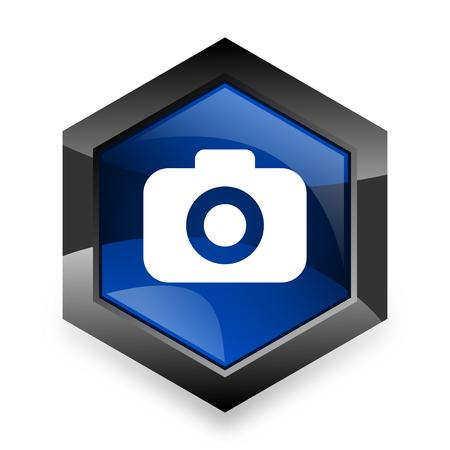 picto: photo camera blue hexagon 3d modern design icon on white background