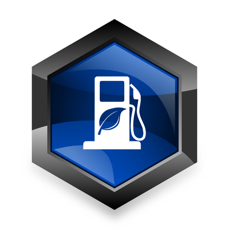 agro: biofuel blue hexagon 3d modern design icon on white background