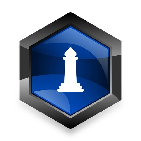 king master: chess blue hexagon 3d modern design icon on white background