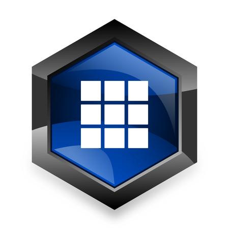 thumbnails: thumbnails grid blue hexagon 3d modern design icon on white background