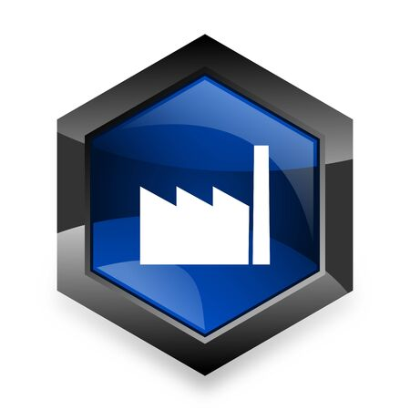 industrial complex: factory blue hexagon 3d modern design icon on white background