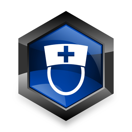 3d nurse: nurse blue hexagon 3d modern design icon on white background Stock Photo