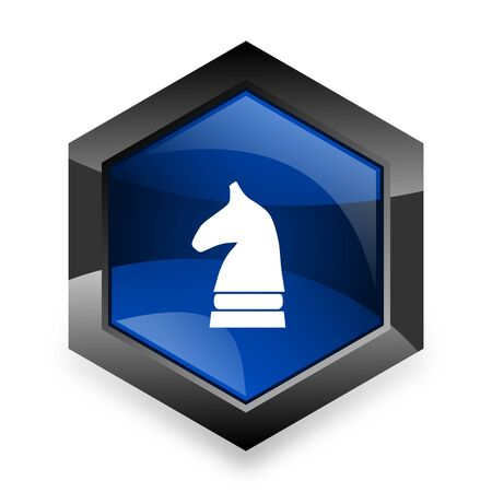 chess horse: chess horse blue hexagon 3d modern design icon on white background