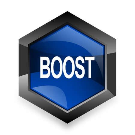 boost: boost blue hexagon 3d modern design icon on white background
